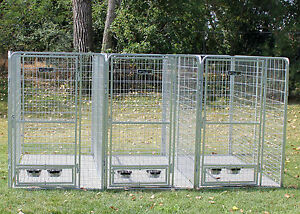 4 X 8 Multiple Welded Wire Dog Kennel System For Three
