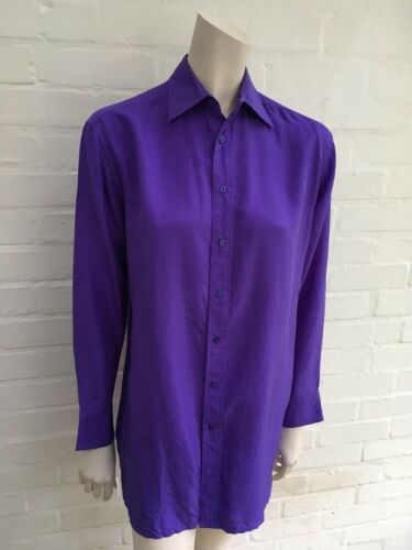 S Silk Purple Shirt Size Label Oversized Ralph Black Small Lauren EI2D9WH