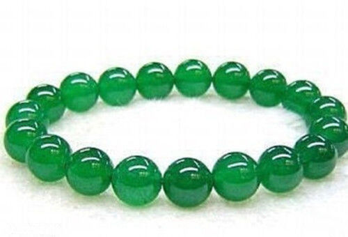 """6 mm 8 mm 10 mm 12 mm 14 mm vert naturel jade Pierres Précieuses Perles Rondes Bracelet 7.5/"""" AAA"""