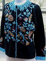 Berek Dramatic Aqua And Black 3d Beaded Embellished Flowers Sweater Med