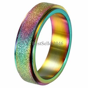 Stainless-Steel-Spinner-Ring-Sand-Blast-Finish-Rainbow-LGBT-Pride-Band-Size-4-11