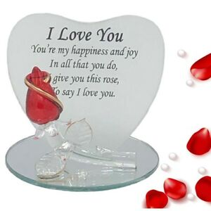 I Love You Glass Rose Gift Girlfriend Boyfriend Gf Bf Wife Birthday