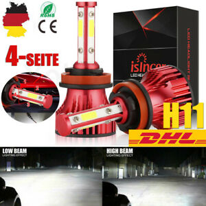 4-SEITE-H11-LED-Scheinwerferlampe-Licht-20000LM-6000K-Weiss-Canbus-Hi-Low-Birne
