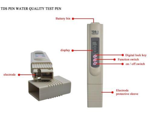 TDS Tester+Digital Ph Meter Aquarium Pool Hydroponic Water Monitor 0-9999 PPM