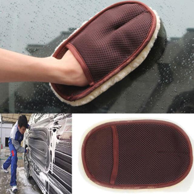 Wonderful Super Soft Lambswool Car Wash Mitt Deep Pile Cleaning Glove Was vbuk