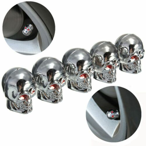 For Car Bike Silver Red Eye Skull Bone Head Tire Wheel Valve CAP Stem 5pcs Cool