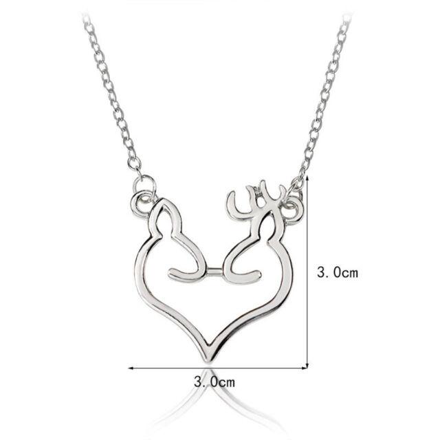 Minimalist Elk Deer Love Heart Necklace Sweater Chain Jewelry x