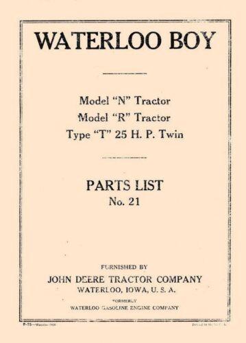 John Deere Model N R and T Tractor Parts Manual No 21