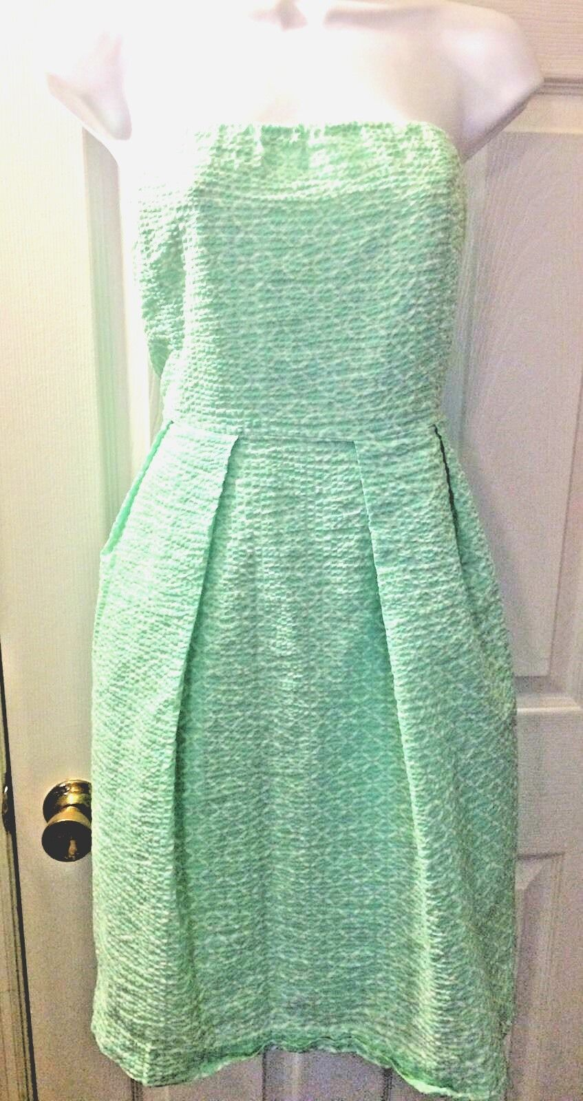J.CREW Women's Lorelei Dress Printed Embossed Mint Green Strapless Sz 14