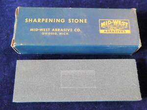"Vintage Mid-West Abrasive #16C Sharpening Whet Stone/Box 5/8 x2x6"" Owosso MI A37"