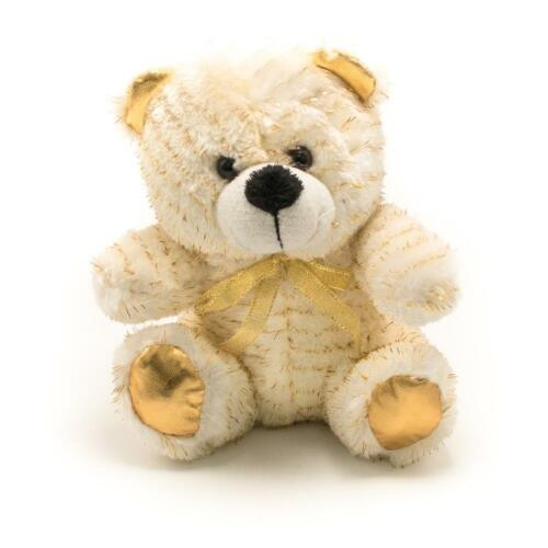 "6/"" Gold Sparkle Plush Teddy Bear Stuffed Animal Toy Gift New"