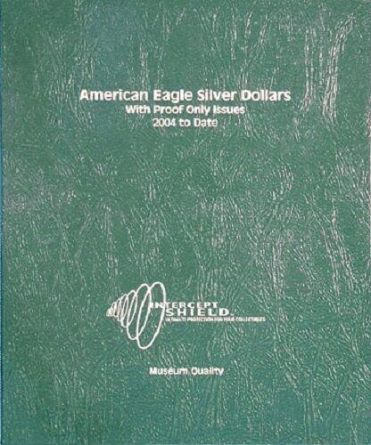 Proof USA Intercept Shield Coin Album American Eagle Silver Dollars 2004-2012