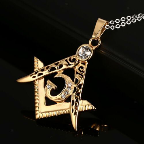 Men/'s Stainless Steel Freemason Necklace Masonic Jewelry With Crystal