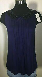 Ann-Taylor-LOFT-Purple-Black-Beaded-Blouse-Top-Shirt-Womens-Petite-Small-NWT-50