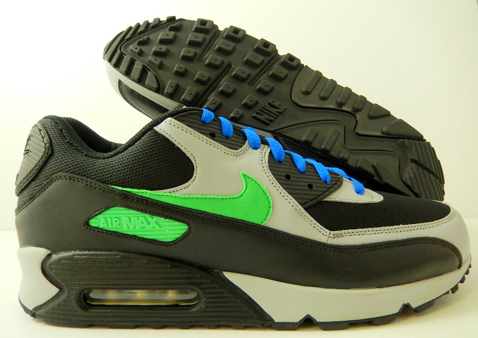 NIKE AIR BLACK-GREY-GREEN-BLUE MAX 90 iD BLACK-GREY-GREEN-BLUE AIR SZ 13 [455686-995] 8031fe