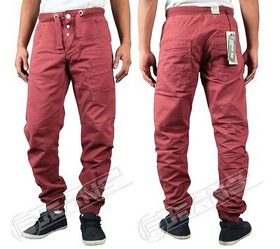 NEW MENS ENZO CUFFED TAPERED JOGGERS IN BURGUNDY COLOUR ALL SIZES 28 TO 40