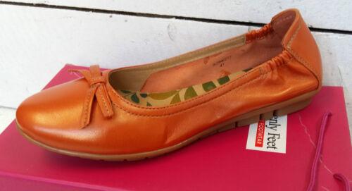 Ladies Heavenly Feet Charlotte 2 Orange Leather Shoes