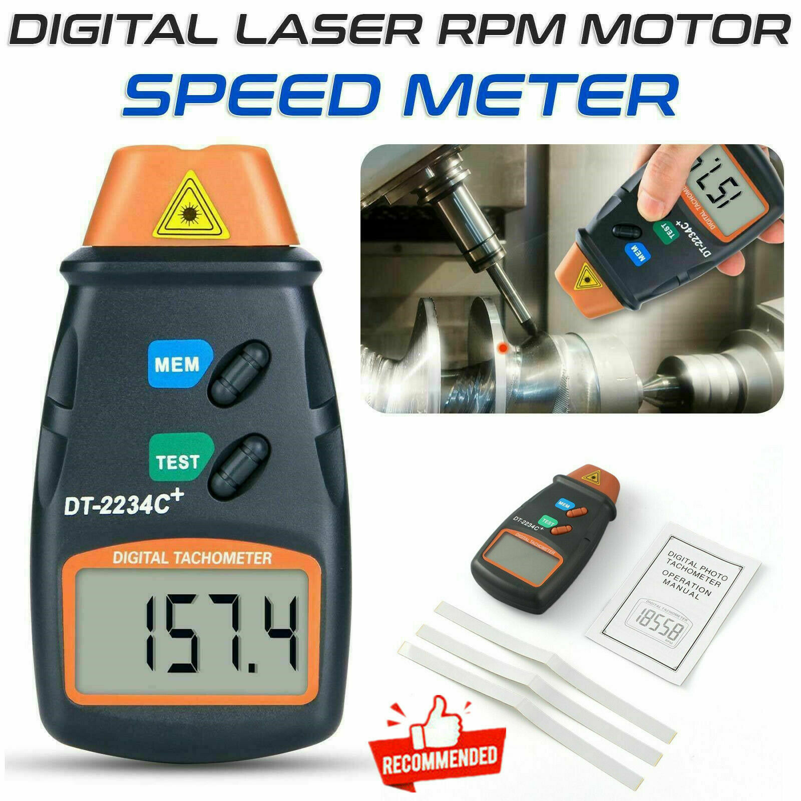 Business & Industrial Digital Tachometer Non Contact Laser Photo ...