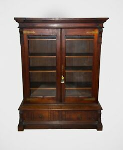Image Is Loading Antique Mahogany Paine 039 S Furniture Cabinet Gl