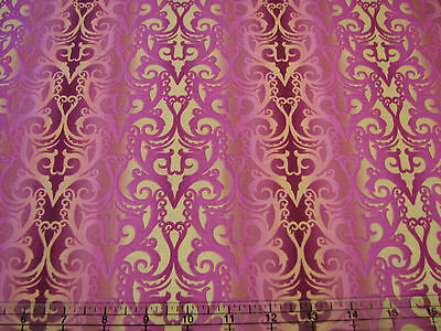 3 Yards Cotton Fabric- ITB Jason Yenter Shangri La Filigree Stripe Pink Magenta