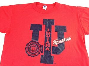 Indiana-Hoosiers-T-Shirt-VTG-University-Adult-SZ-M-L-80s-90s-USA-Made-Bright-Tee