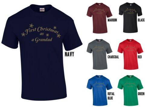 First Christmas as a Grandad T-Shirt Gold Print New Grandpa Papa Xmas Gift