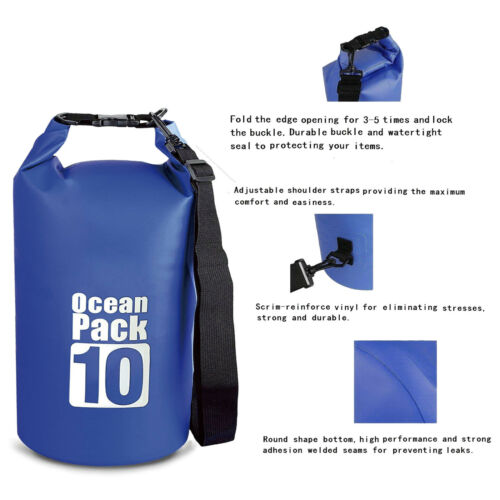 10L 20L Waterproof Dry Bag Sack Pouch Floating Boating Kayaking Camping