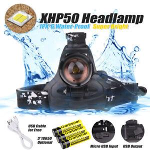 900000LM-XHP50-LED-Headlamp-USB-Rechargeable-18650-Headlight-Flashlight-Zoomable