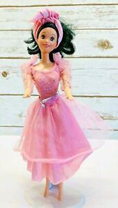 "MATTEL BARBIE Disney Doll Black Hair Brown Eyes Pink Dress 12"" Tall Free Ship"