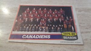 1979-80 Topps NHL Hockey Team Poster Insert - Montreal Canadiens - VG