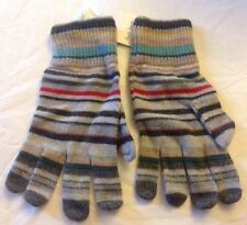 PAUL SMITH Mens Grey Colorful Striped Gloves Wool Cashmere NWT Brand New