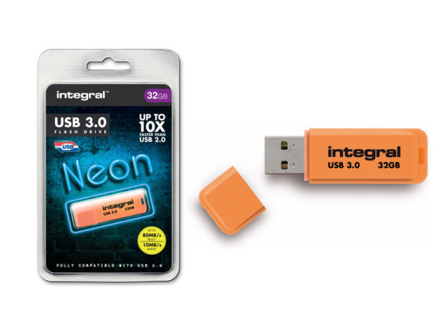 Integral 32GB Neon USB 3.0 FLASH DRIVE IN ARANCIO - UP TO 10X più veloce USB 2.0