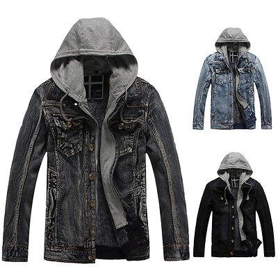 CLASSIC Men Winter Denim Jacket STAR Warm Hooded Coat Hoodies JEAN Jackets S-XXL