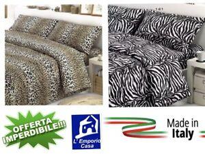 Copripiumino Leopardato Matrimoniale.Copripiumino Federe Leopardato Zebrato 100 Cotone Italiano