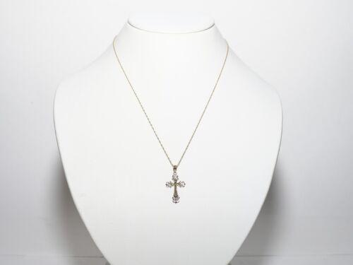 14K Gold Diamond Cut Deux Tons Pendentif croix avec chaîne 1630//1860-5-8