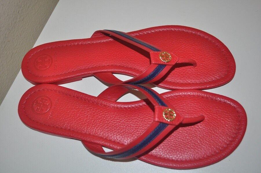 TORY BURCH MARITIME Thong Flip Flop Sandal Red with Blue Stripe Pelle Sz 11