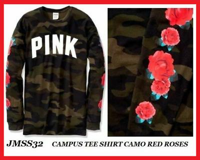 NWT Victoria/'s Secret PINK Perfect Crew Tee Shirt Pink Camo LARGE NIP