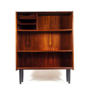 Retro-Vintage-Danish-Design-Tall-Rosewood-Bookcase-Book-Cabinet-50s-60s-70s