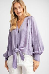 Easel-Lilac-V-Neck-Puff-Sleeve-Button-Front-Satin-Top