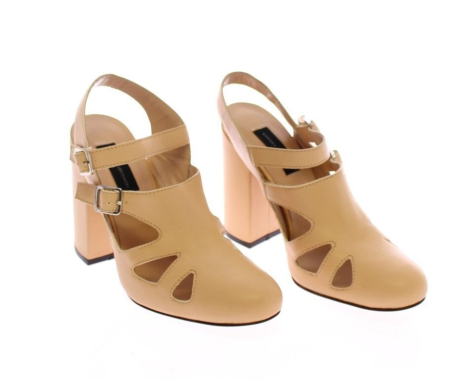 NWT  800 Andrea Incontri Beige Leather Heels Pumps chaussures  EU37   UK4.5   US 6.5