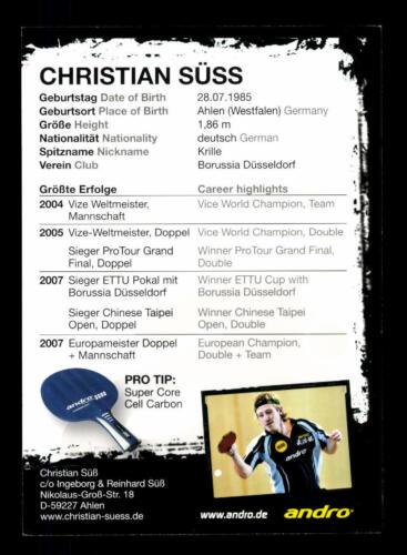 Christian Süss Deutschland Tischtennis  Autogrammkarte Autogramme & Autographen