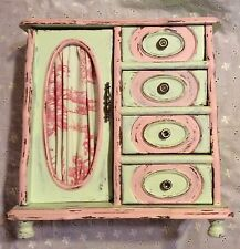 VINTAGE HAND PAINTED DISTRESSED SHABBY CHIC UPCYCLED WOOD MUSIC JEWELRY BOX