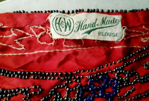 Vintage RED 1920's Beaded Silk Chiffon Flapper Eve