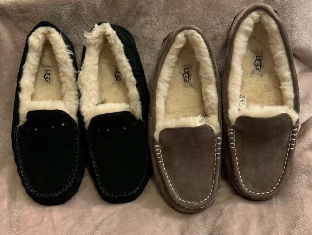 2 Pairs Authentic UGGs Women's Slippers Sz 9 Ansley- UGG Moccasins Black Brown
