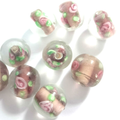 20 Amethyst Lampwork Glass 10mm Round Beads