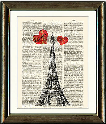 Antique Book page Art Print - The Eiffel Tower with Hearts Paris Old Dictionary