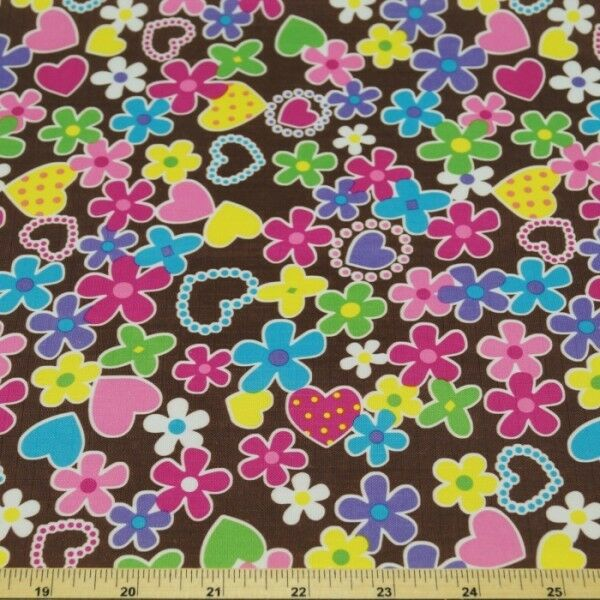 PVC Candy Hearts Print Ripstop Fabric