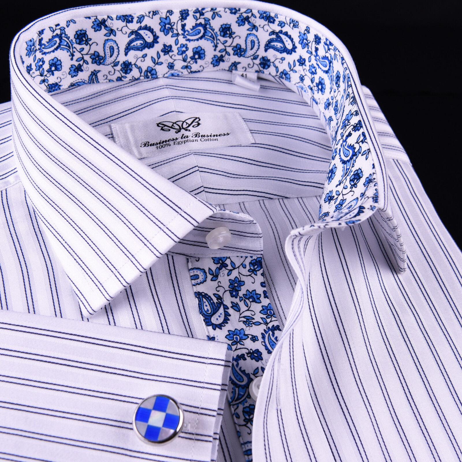 Blau Dual Stripes Formal Business Dress hemd Paisley Floral Designer Fashion GQ