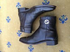 Gucci Mens Shoes Brown Leather Chelsea Dealer Boots UK 7 US 8 41 Interlocking GG