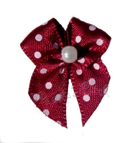 Polka Dot Satin Ribbon Bows with Single Pearl Choose Colour /& Pack Size Free P/&P